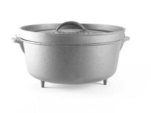 Big-BBQ DO 12.0 Dutch-Oven aus Gusseisen | Fertig eingebrannter 14er Koch-Topf aus Gusseisen | mit Deckelheber und Deckelständer | mit Beinen