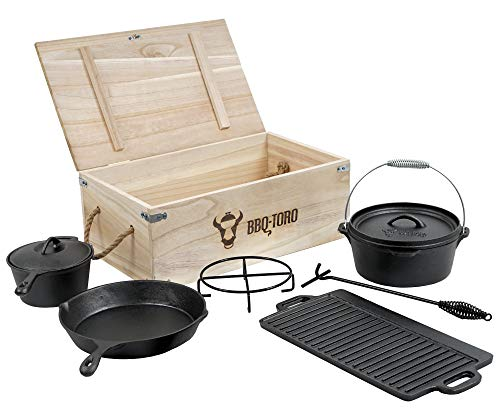 Dutch Oven Gusseisen Set + Holzkiste